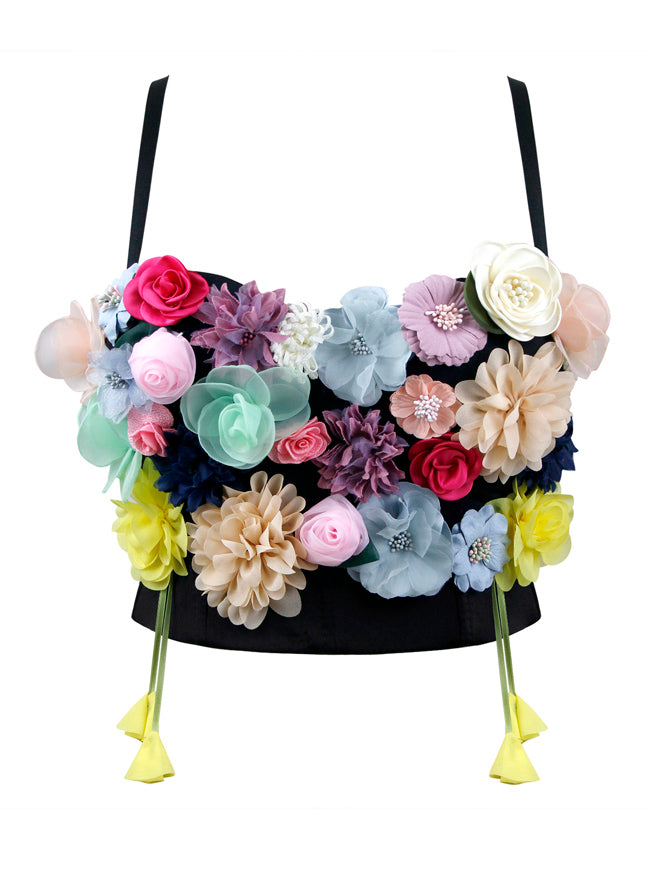 3D Simulation Flower Strappy Sleeveless Bustier Crop Top Bra