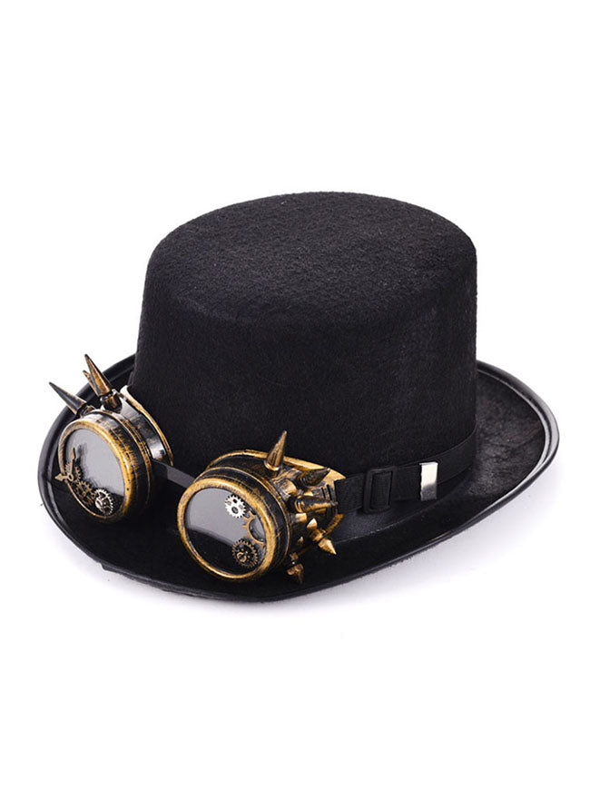 Steampunk Top Hat Metal Rivet Goggles Hat Costume Accessory