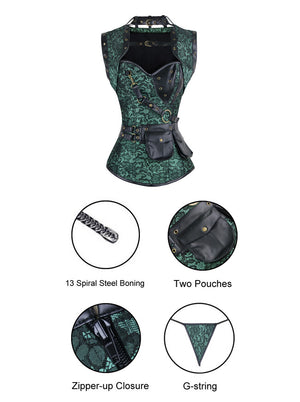 Steel Boned Retro Goth Brocade Steampunk Bustiers Corset Top with Jacket and Belt