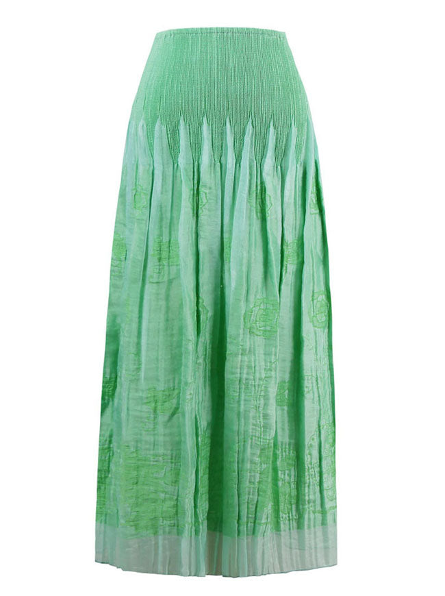 Women's Fashion Strapless Floral Print Dress or Skirt Green Back View