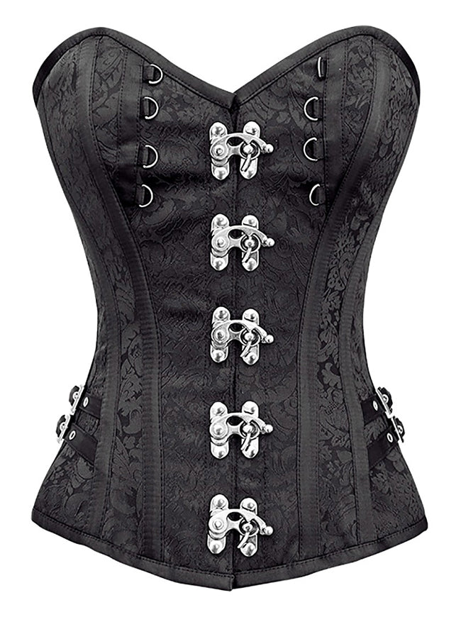 Steampunk Gothic Brocade Spiral Steel Boned Corset with Buckles