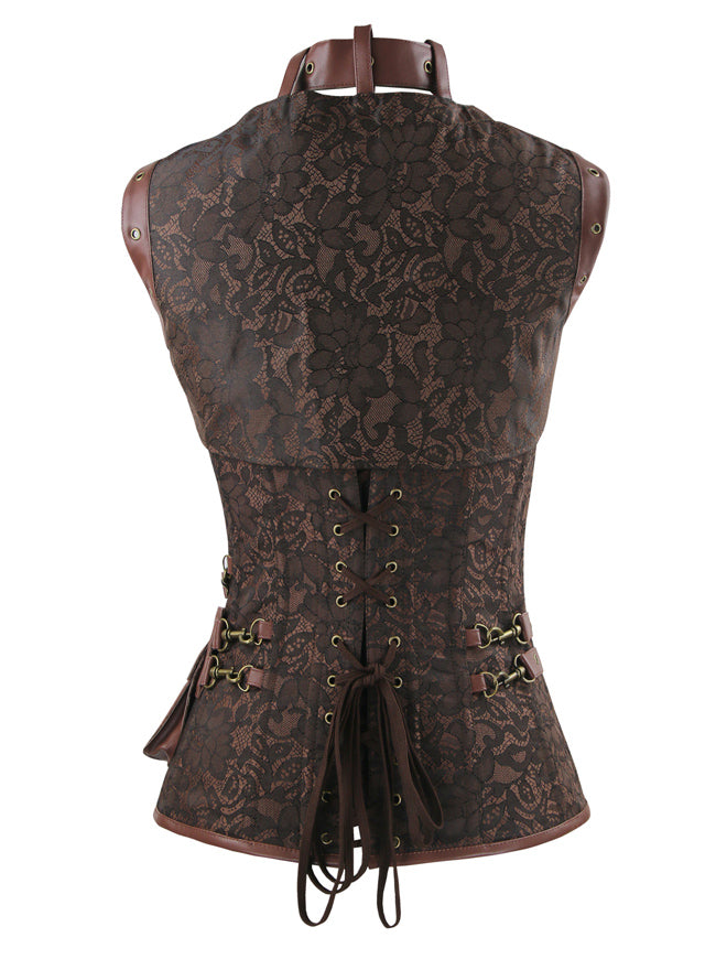 Women's Gothic Spiral Steel Boned High Neck Waist Cincher Corset with Jacket Brown Back View