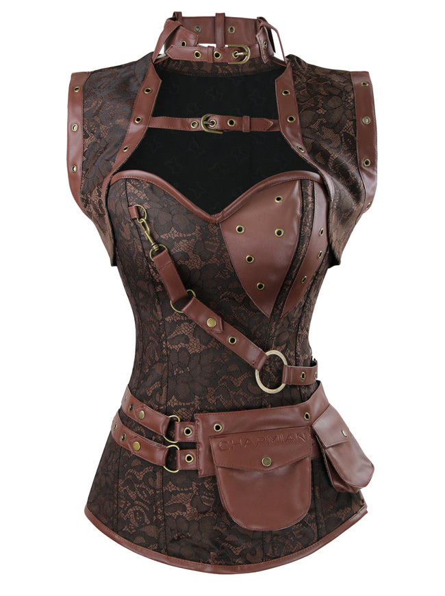 Spiral Steel Boned Steampunk Gothic Vintage Brocade Corset with Jacket and Belt Main View