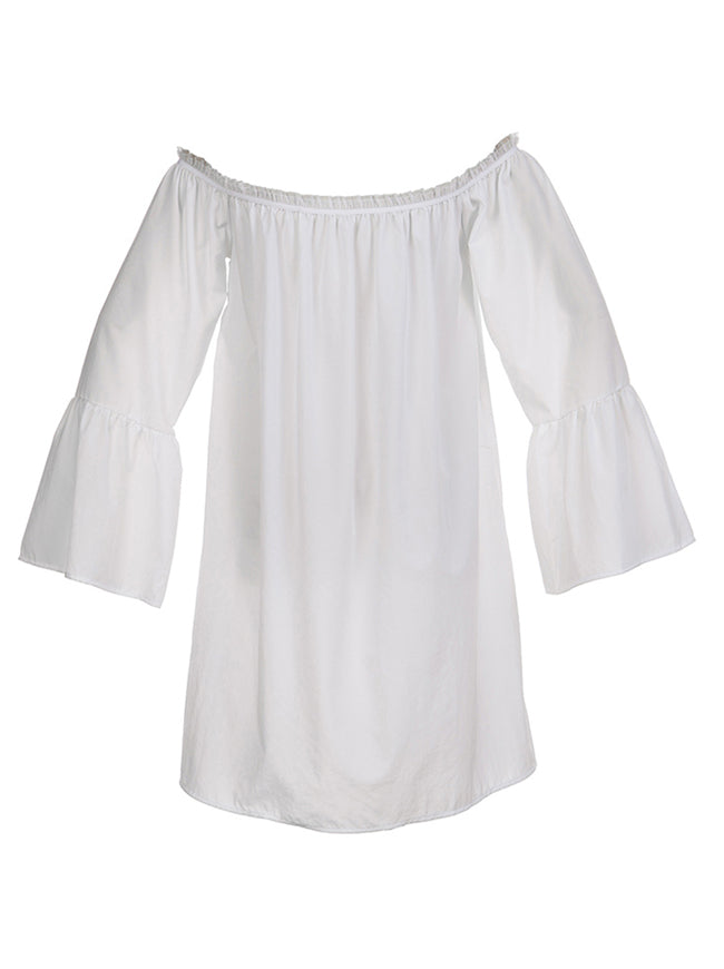 Casual Ruffled Off Shoulder Long Sleeve Peasant Blouse Top Mini Dress White Back View