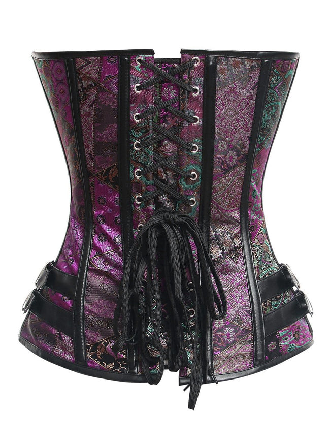 Steampunk Gothic Brocade Steel Boned Bustier Corset with Buckle