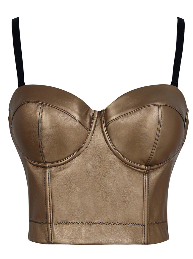 Spaghetti Straps Push Up Faux Leather Bustier Crop Top Bra