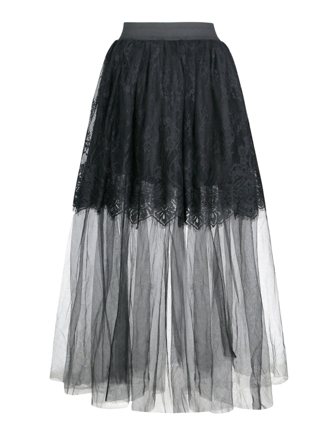 Gothic Multi-layered Sheer Mesh Long Tulle Pleated Maxi Skirt