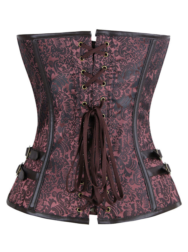 Women's Steampunk Brocade Spiral Steel Boned Corset with Buckles Brown Back View