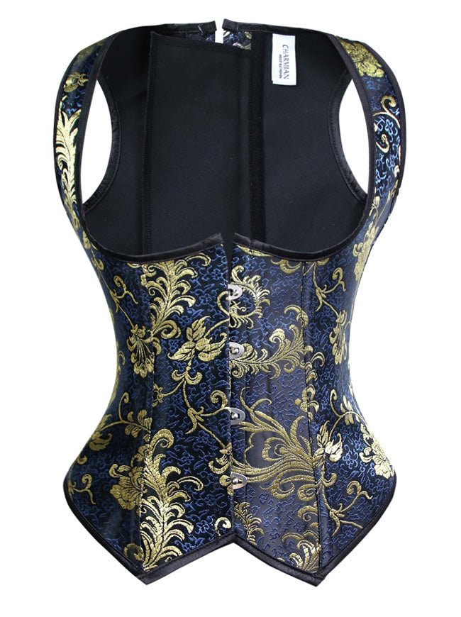 Spiral Steel Boned Retro Burlesque Brocade Underbust Waist Training Cincher Corset Vest