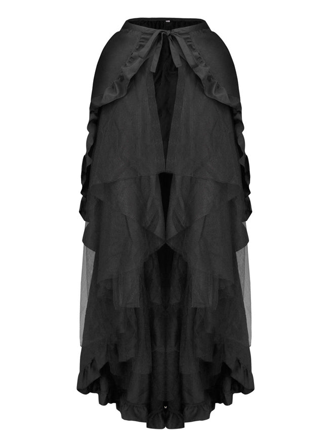 Steampunk Gothic Ruffled Layered Tulle Tutu Bustle Skirt Wrap Cape