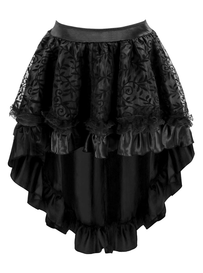 Classical Vintage Gothic Corset Dress Steampunk High Low Juniors Black Irregular Asymmetrical Skirt Main View