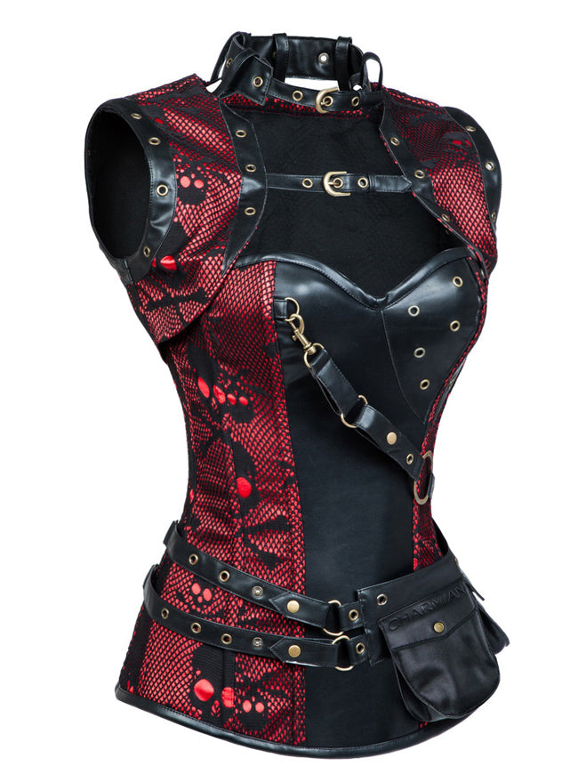 Women's Steampunk Steel Boned Skulls Print High Neck Corset with Jacket Black-Red Side View