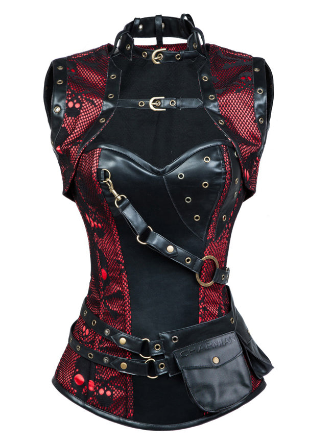 Retro Goth Spiral Steel Boned Brocade Steampunk Bustiers Corset with Jacket and Belt