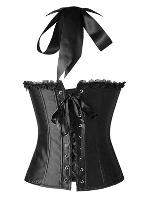 Burlesque Vintage Fashion Classic Satin Halter Bustier Corset Top with Zipper