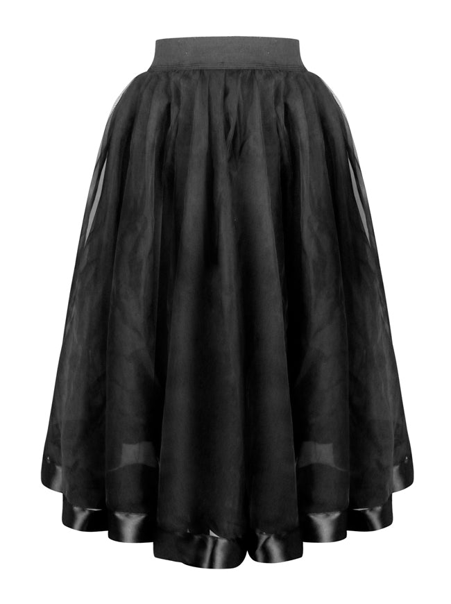 Casual Double Layer Elastic Waist Band Knee Length High Waist Tulle Skirt