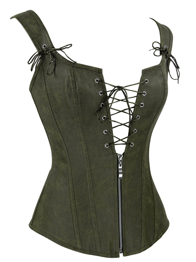 Vintage Renaissance Lace Up Bustier Corset with Garters Side View