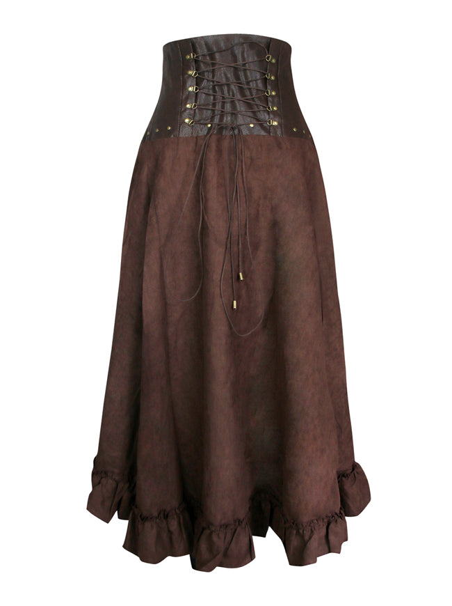 Steampunk Vintage Ruffled Layered High Waist Irregular Rockabilly Long Skirt