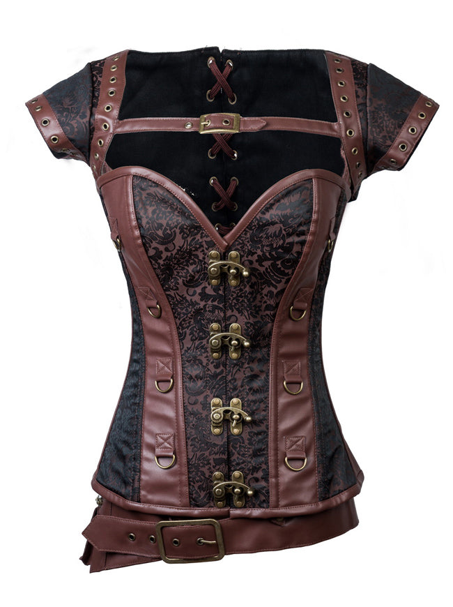 Steampunk Jacquard Steel Boned Busk Corset with Jacket and belt
