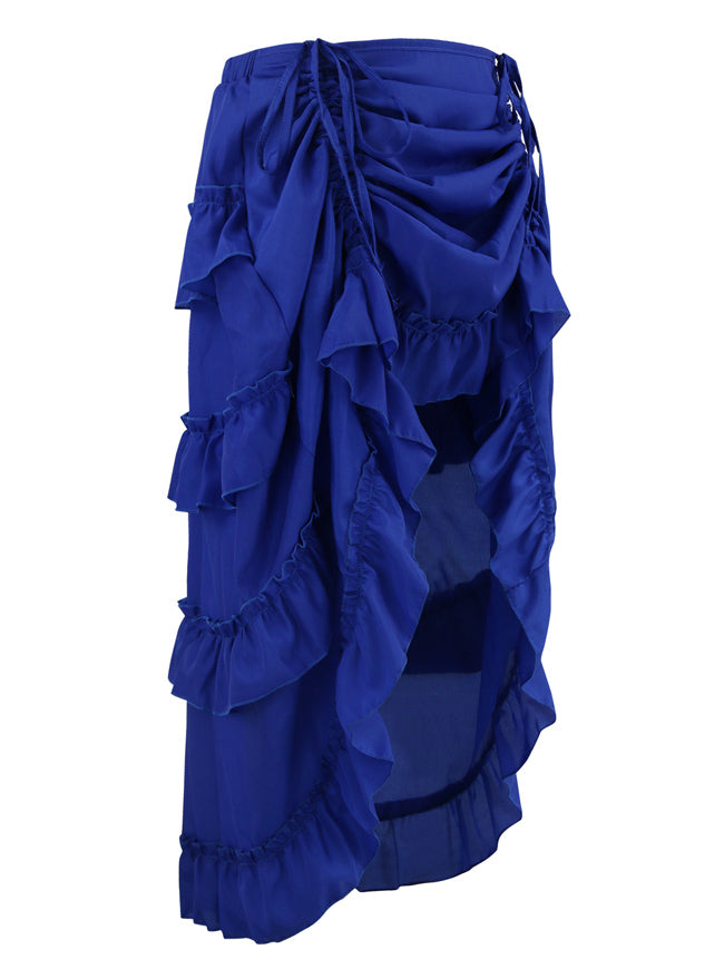 Women's Victorian Cyberpunk High Low Ruffle Party Skirt Blue Side View