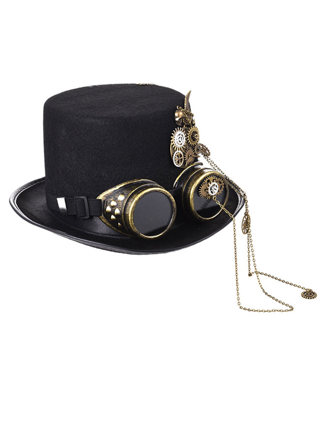 Steampunk Top Hat Goggles Gears Chain Deluxe Cosplay Costume Accessory
