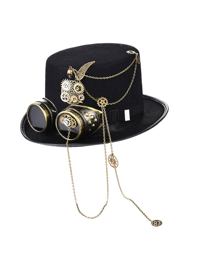 Steampunk Top Hat Goggles Gears Chain Deluxe Costume Accessory