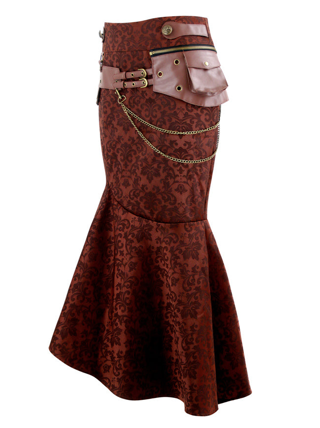 Steampunk Vintage Jacquard High Waist Irregular Rockabilly Long Skirt
