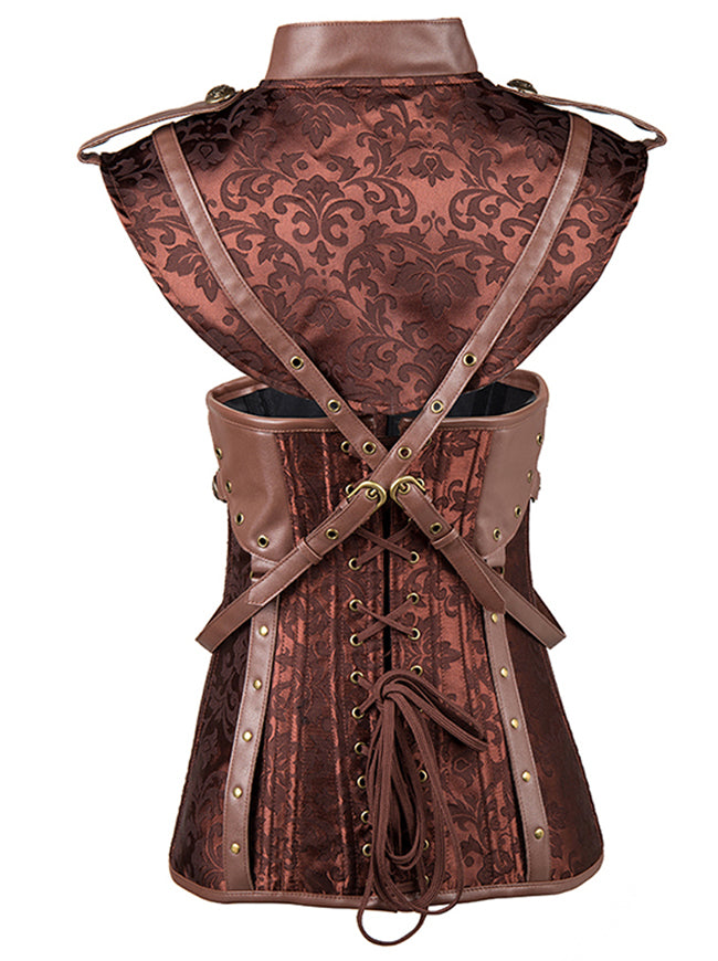 Steampunk Faux Leather Jacquard Underbust Corset with Shrug