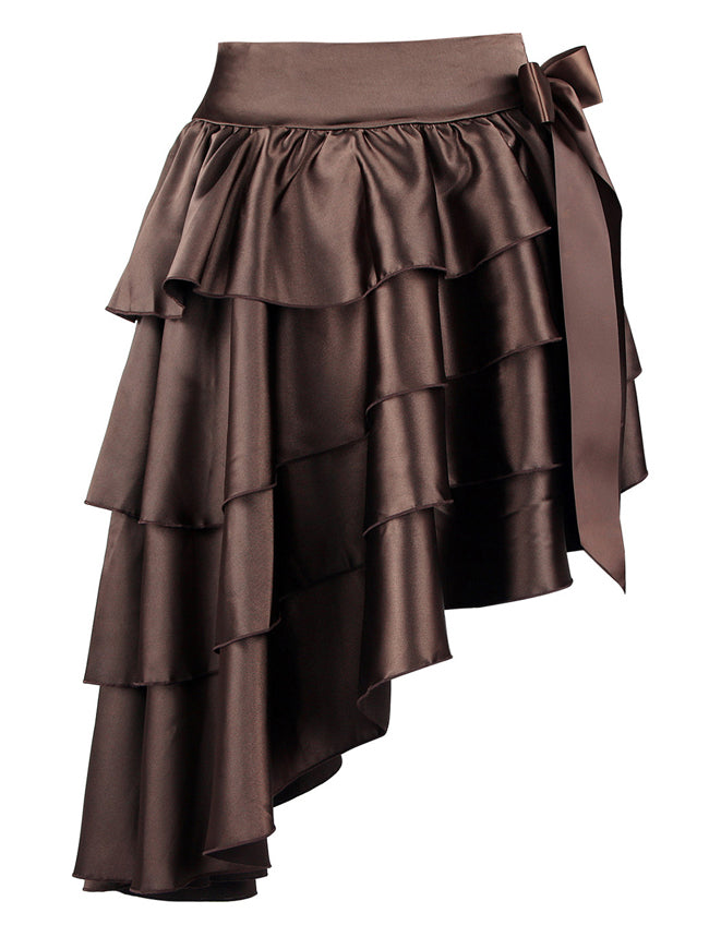 Satin High-low Ruffles Dancing Party Skirt