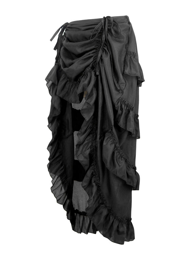 Gothic Steampunk Pirate Rockabilly High Low Renaissance Cyberpunk Cosplay Maxi Skirt Side View
