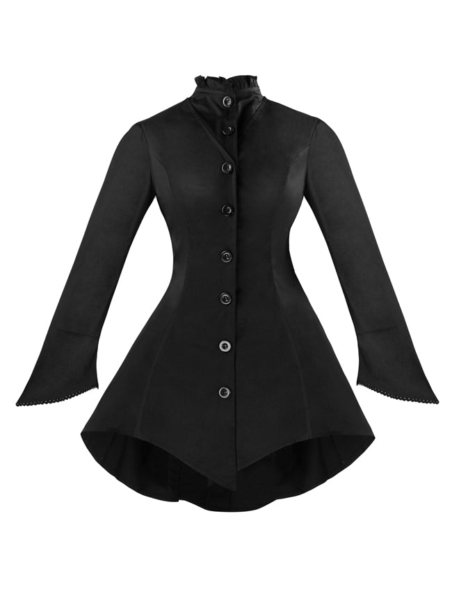 Gothic Vintage High Neck Long Sleeve Button Down Jacket Coat