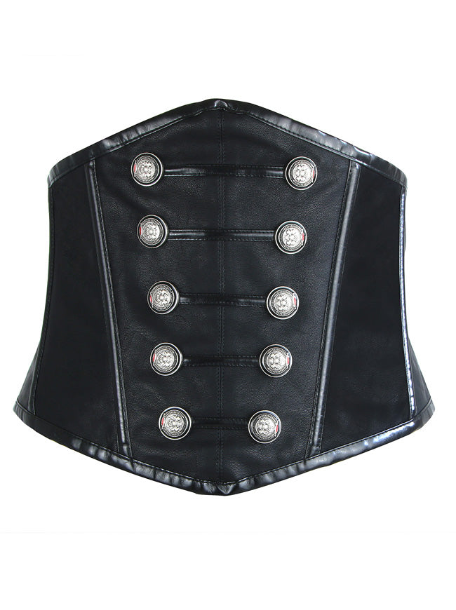 Steampunk Gothic Faux Leather Underbust Wide Corset Waist Belt Main View