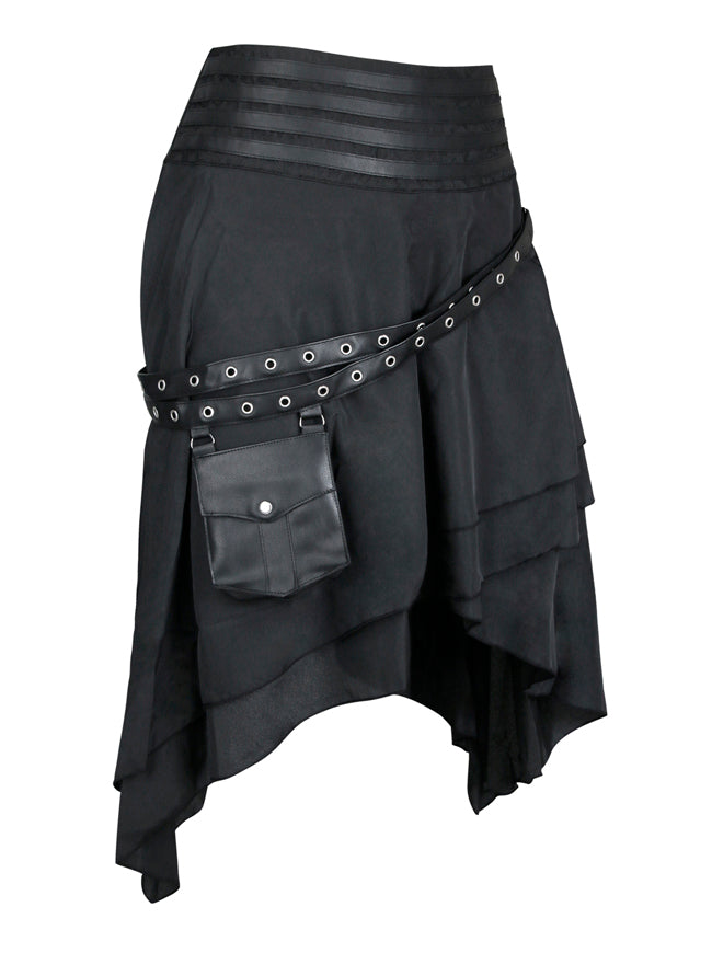 Steampunk Vintage Cyberpunk Pirate Skirt with Adjustable Pocket Belt