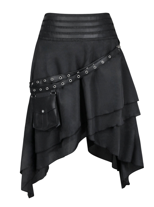 Steampunk Victorian Retro Multi Layered High Low Pirate Party Skirt