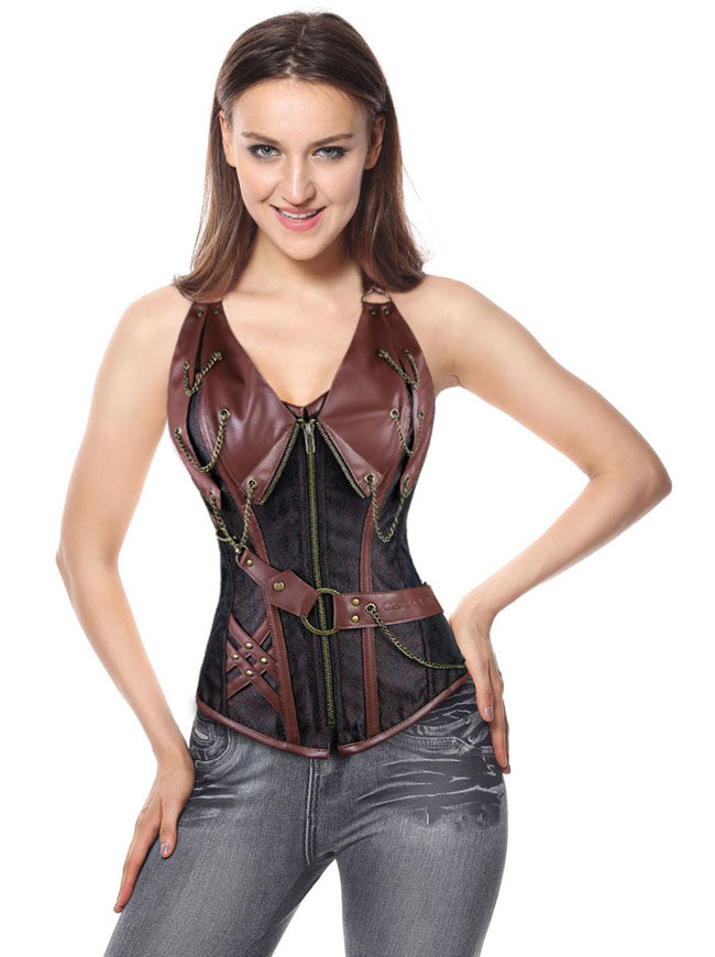 Spiral Steel Boned Steampunk Goth Halter Leather Bustier Corset