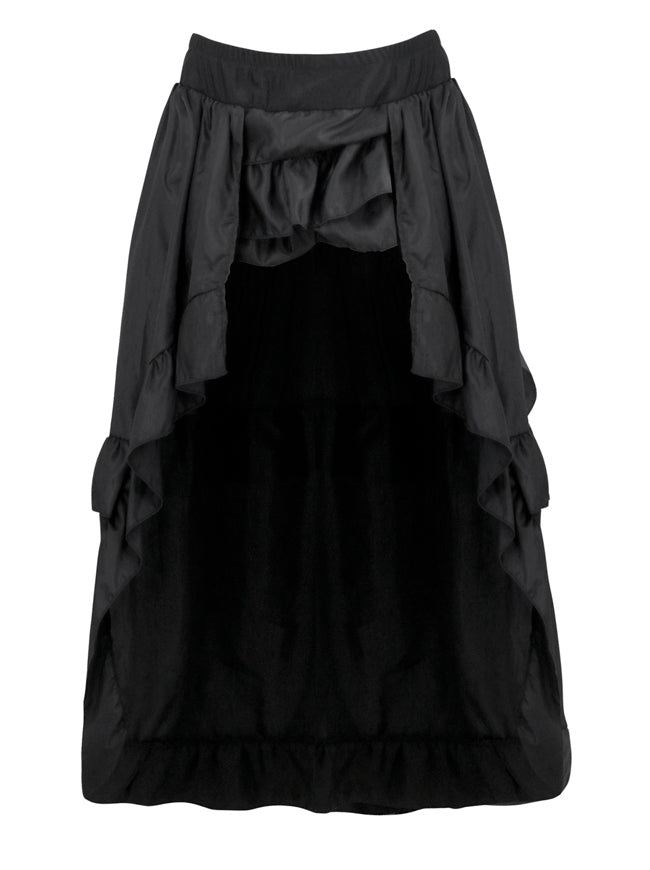 Steampunk Retro Elastic Ruffled Asymmetry High Low Party Skirt Main View