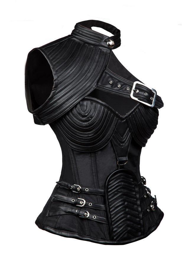 Classical Vintage High Quality Women Black Faux Leather Gothic Steampunk Cord Lacing Overbust Corset Tops Side View