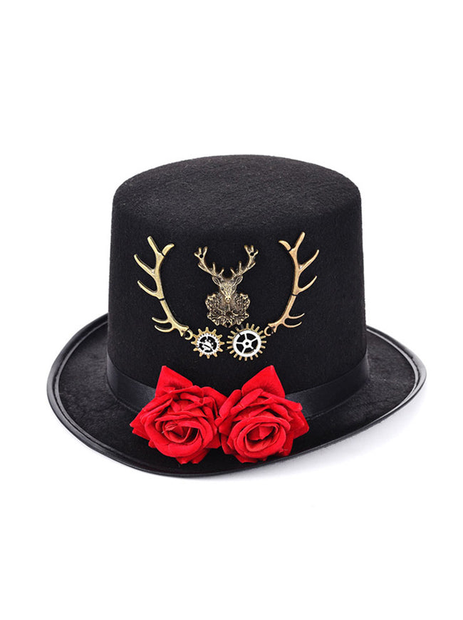 Steampunk Top Hat Rose Metal Reindeer Antlers Costume Accessory Party Top Hat