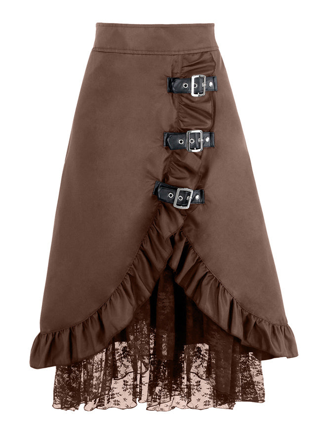 Steampunk Gothic Vintage Victorian Gypsy Hippie Lace Party Skirt with Buckles