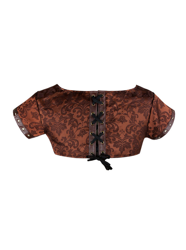 Steampunk Vintage Brocade and Faux Leather Corset Shrug Jacket