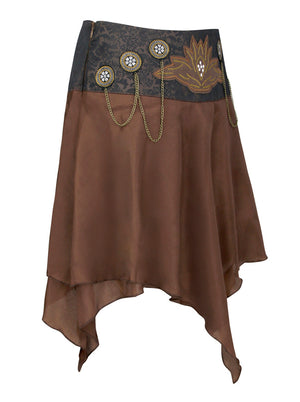 Steampunk Vintage Embroidered Layered Chains Saloon Skirt Brown