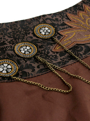 Rock Punk Embroidered Chains Knee Length Masquerade Skirts Brown