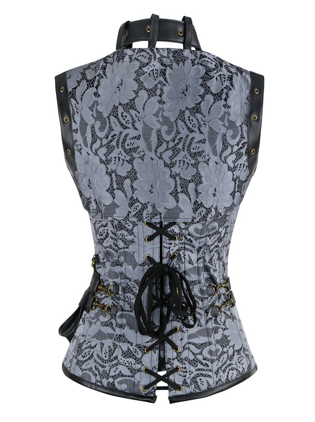 Steampunk Vintage Brocade Boned Lace Up Corset with Jacket and Belt