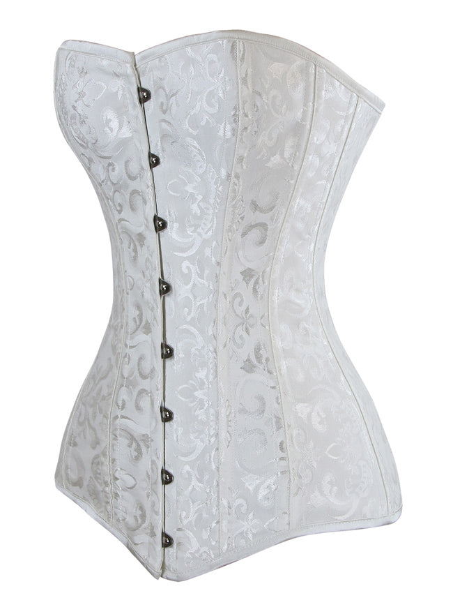 26 Steel Boned Brocade Long Torso Hourglass Body Shaper Corset