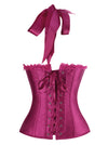 Women's Vintage Satin Padded Halter Zipper Bustier Corset Top Purple Back View
