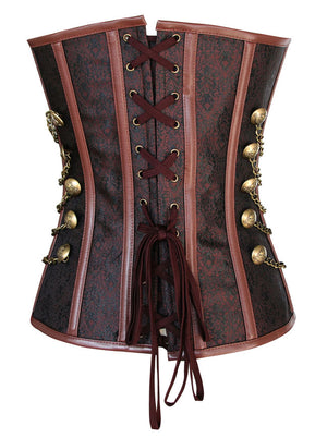 Steampunk Gothic Vintage Steel Boned Brocade Overbust Corset with Chains