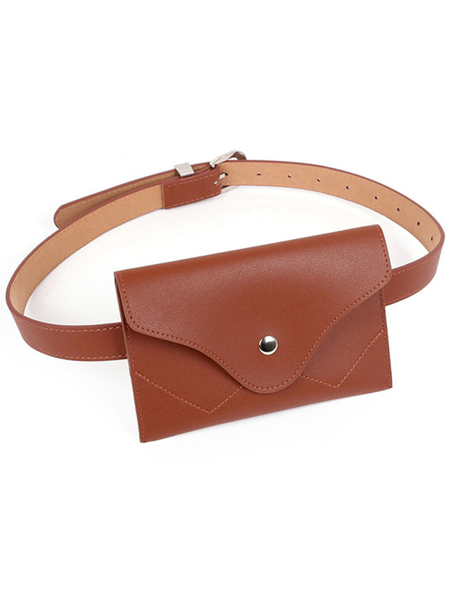 Women Cell Phone Waist Pouch Fanny Packs Cute Mini Purse Pouch Faux Leather Waist Belt Bag Back View