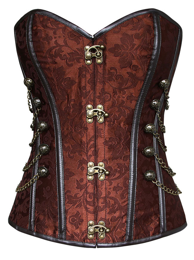 Spiral Steel Boned Steampunk Gothic Bustier Corset with Chains