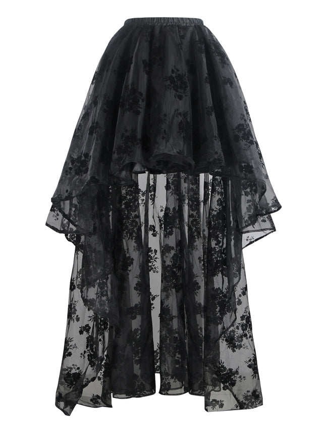 Steampunk Gothic Irregular Floral Print High Low Party Skirt