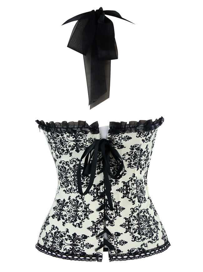 Vintage Halter Chiffon and Brocade Strapless Overbust Corset