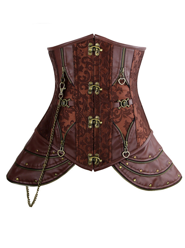 Steampunk Brocade Steel Boned Underbust Corset with Hip Panels